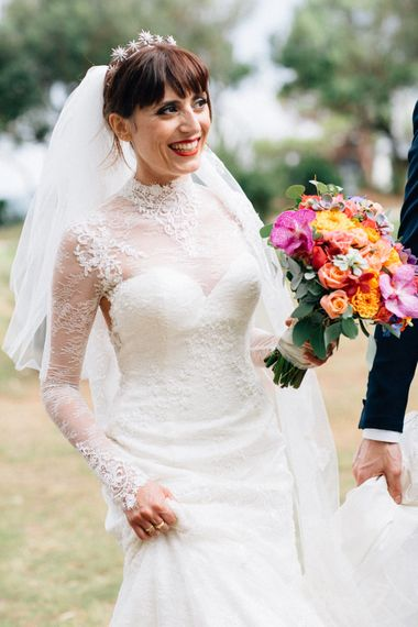 Bride in Bespoke Lace Wedding Dress | Colourful, Sophisticated,  Outdoor Wedding at Is Morus Relais in Southern Sardinia, Italy |  Greg Funnell Photography