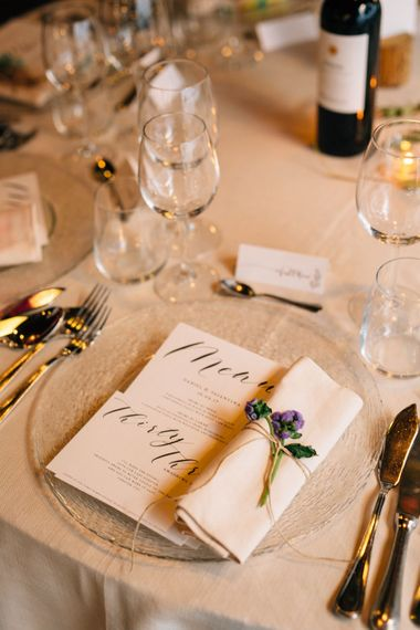 Elegant Place Setting | Colourful, Sophisticated,  Outdoor Wedding at Is Morus Relais in Southern Sardinia, Italy |  Greg Funnell Photography