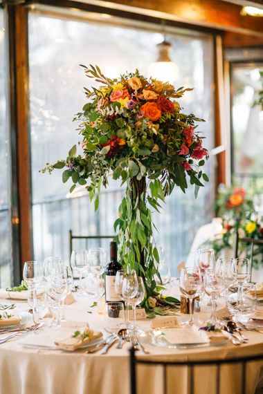 Tall Floral Centrepiece | Colourful, Sophisticated,  Outdoor Wedding at Is Morus Relais in Southern Sardinia, Italy |  Greg Funnell Photography