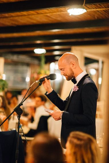 Grooms Speech in YSL Black Tie Suit | Colourful, Sophisticated,  Outdoor Wedding at Is Morus Relais in Southern Sardinia, Italy |  Greg Funnell Photography