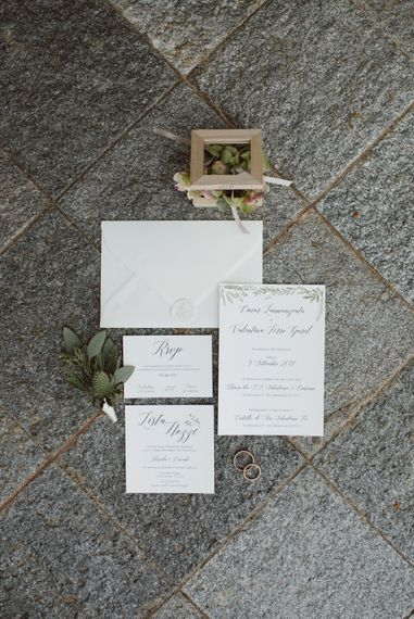Elegant Alispi Wedding Stationery Suite with white Wax Seal | Green & White Bohemian Wedding in the Rain at Castello di San Sebastiano da Po, Italy | Margherita Calati Photography | Second Shooter Carlo Vittorio Green & White Bohemian Wedding in the Rain at Castello di San Sebastiano da Po, Italy | Margherita Calati Photography | Second Shooter Carlo Vittorio