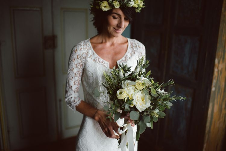 Bride in Lace Laure de Sagazan Bridal Gown | Green & White Bohemian Wedding in the Rain at Castello di San Sebastiano da Po, Italy | Margherita Calati Photography | Second Shooter Carlo Vittorio