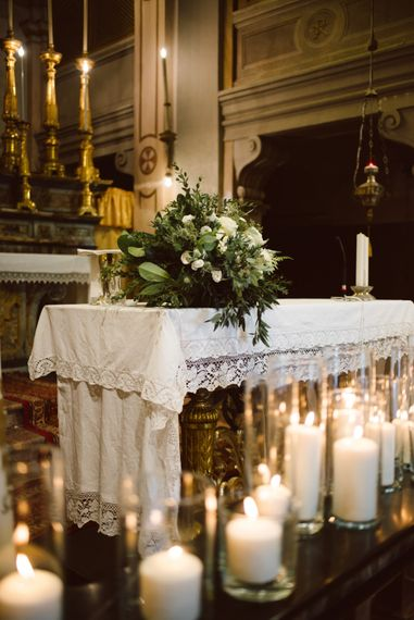 Candle Lit Altar | Green & White Bohemian Wedding in the Rain at Castello di San Sebastiano da Po, Italy | Margherita Calati Photography | Second Shooter Carlo Vittorio