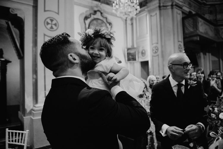 Groom at the Altar with Daughter  | Green & White Bohemian Wedding in the Rain at Castello di San Sebastiano da Po, Italy | Margherita Calati Photography | Second Shooter Carlo Vittorio