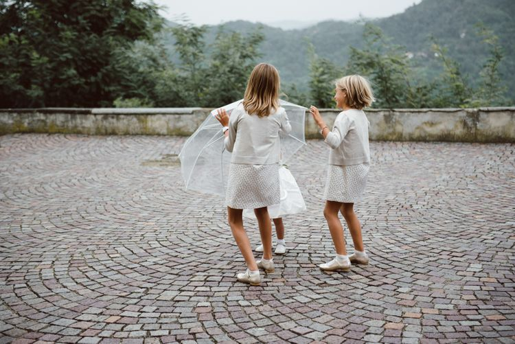 Children at Wedding | Green & White Bohemian Wedding in the Rain at Castello di San Sebastiano da Po, Italy | Margherita Calati Photography | Second Shooter Carlo Vittorio