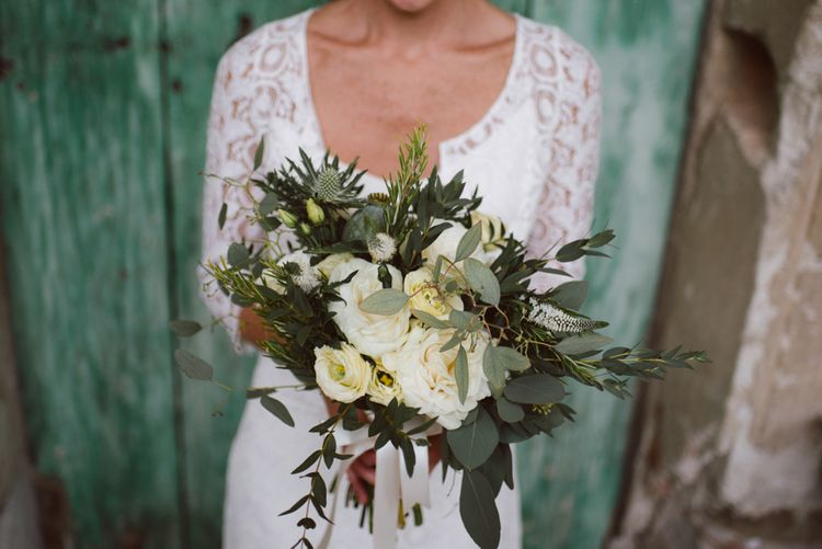 Foliage & White Rose Bouquet | Bride in Laure De Sagazan Gown | Green & White Bohemian Wedding in the Rain at Castello di San Sebastiano da Po, Italy | Margherita Calati Photography | Second Shooter Carlo Vittorio