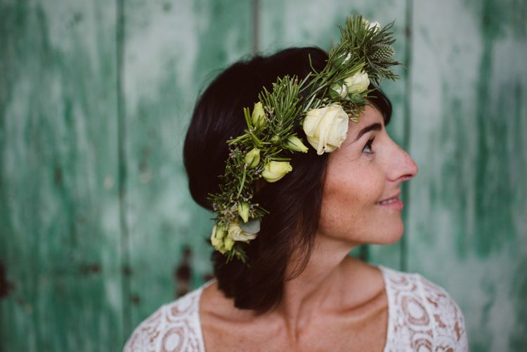 Foliage & White Rose Flower Crown | Bride in Laure De Sagazan Gown | Green & White Bohemian Wedding in the Rain at Castello di San Sebastiano da Po, Italy | Margherita Calati Photography | Second Shooter Carlo Vittorio