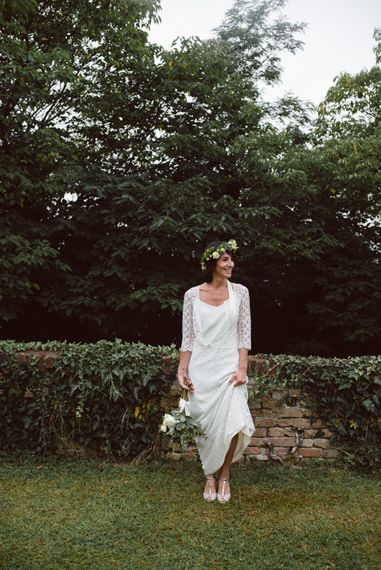 Bride in Laure De Sagazan Gown | Green & White Bohemian Wedding in the Rain at Castello di San Sebastiano da Po, Italy | Margherita Calati Photography | Second Shooter Carlo Vittorio