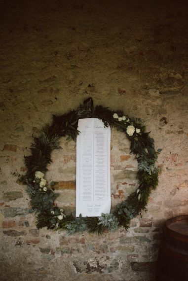 Greenery Hoop Table Plan | Green & White Bohemian Wedding in the Rain at Castello di San Sebastiano da Po, Italy | Margherita Calati Photography | Second Shooter Carlo Vittorio