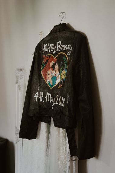 Illustrated Little Mermaid Faux Leather Jacket For Bride // Images By The Curries // Film By This Modern Revelry