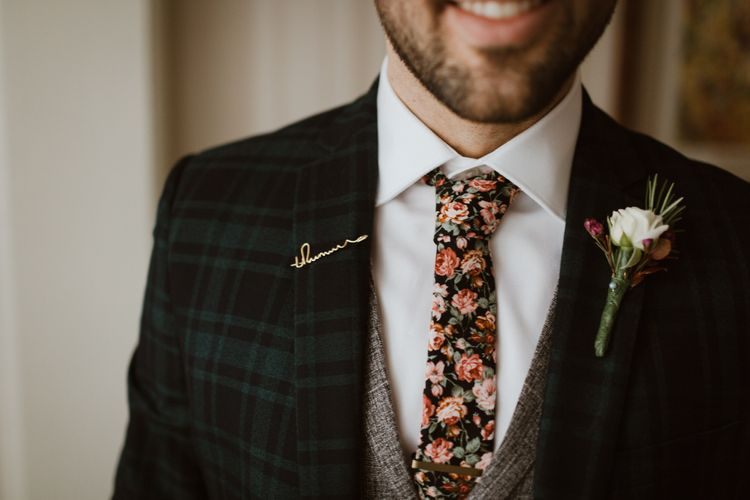 Personalised Lapel Pin For Groom // Images By The Curries // Film By This Modern Revelry