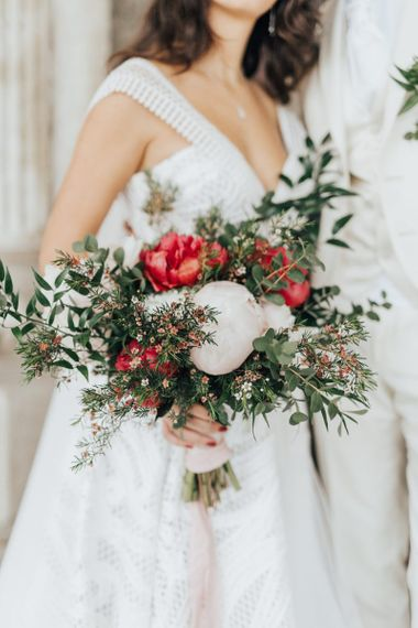 Red and White Peony Bouquet with Foliage