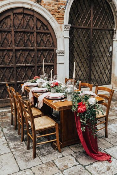 Rustic Tabelscape with Floral Table Runner of Peonies and Foliage