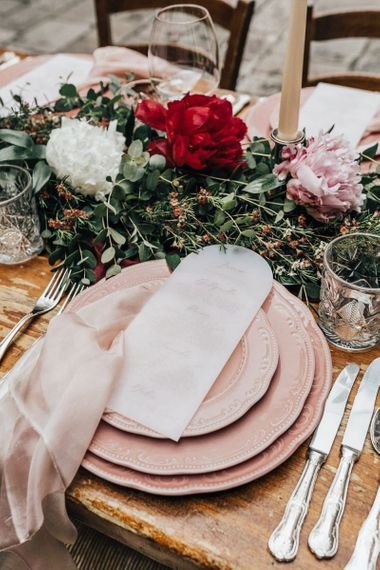 Place Setting with Pink Charger Plates and Vellum Menu Card