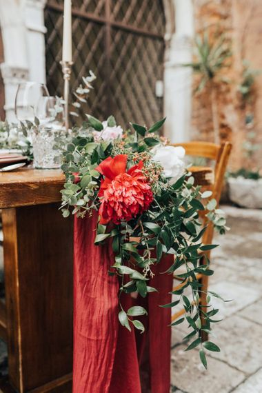 Red and White Peony Floral Runner with Foliage