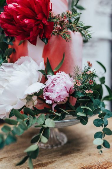 Pink, White and Red Flowers and Foliage Cake Decor