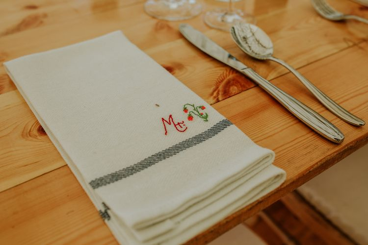 Homemade embroidered napkins for guests