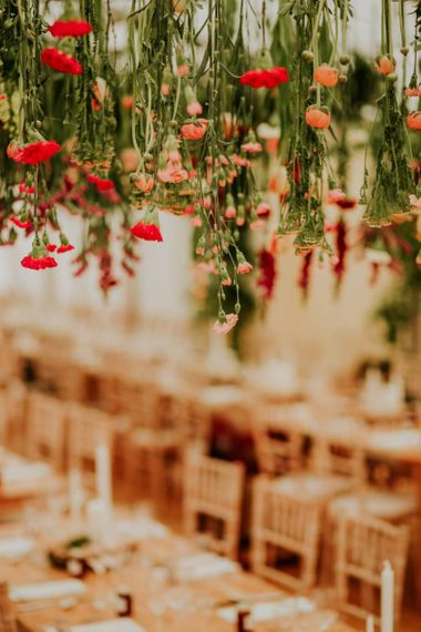 Hanging flowers for marquee wedding