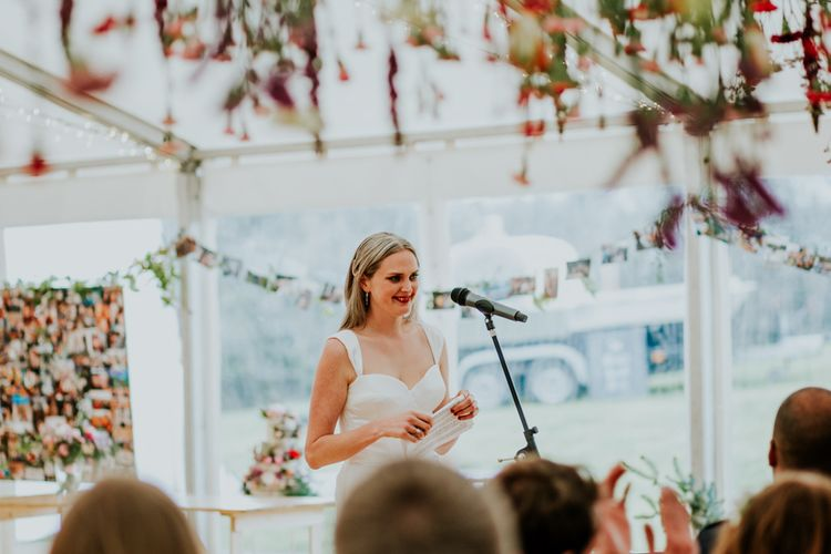 Bride makes a wedding speech