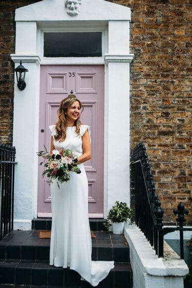 Bride in Belle & Bunty Wedding Dress | Islington Town Hall & Brixton East City Wedding | Joanna Bongard Photography