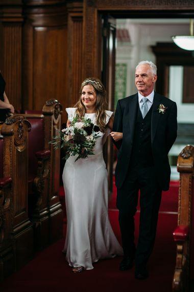Wedding Ceremony | Bridal Entrance in Belle & Bunty Wedding Dress | Islington Town Hall & Brixton East City Wedding | Joanna Bongard Photography