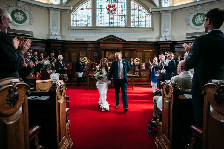 Wedding Ceremony | Bride in Belle & Bunty Wedding Dress | Groom in Paul Smith Suit | Islington Town Hall & Brixton East City Wedding | Joanna Bongard Photography