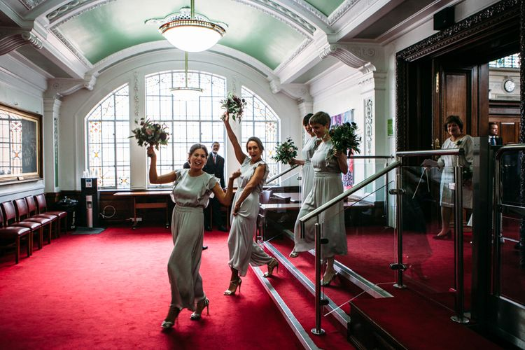 Bridesmaids in Zara Jumpsuits | Islington Town Hall & Brixton East City Wedding | Joanna Bongard Photography