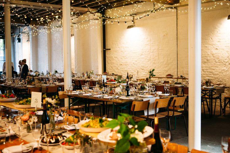 Fairy Light Wedding Reception Wedding Decor | Belle & Bunty Wedding Dress for an Islington Town Hall & Brixton East City Wedding | Joanna Bongard Photography