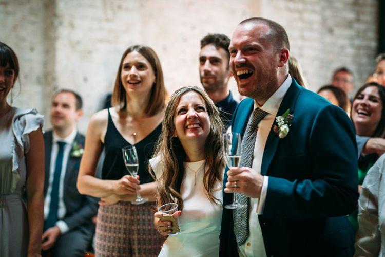 Wedding Reception Speeches | Bride in Belle & Bunty Wedding Dress | Groom in Paul Smith Suit | Islington Town Hall & Brixton East City Wedding | Joanna Bongard Photography