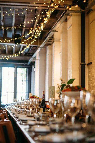 Fairy Lights Wedding Reception Decor | Belle & Bunty Wedding Dress for an Islington Town Hall & Brixton East City Wedding | Joanna Bongard Photography
