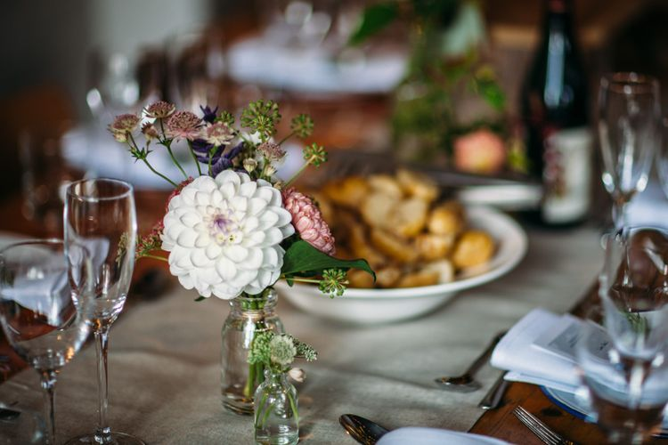 White Dahlia Flower Stem in Vase | Belle & Bunty Wedding Dress for an Islington Town Hall & Brixton East City Wedding | Joanna Bongard Photography