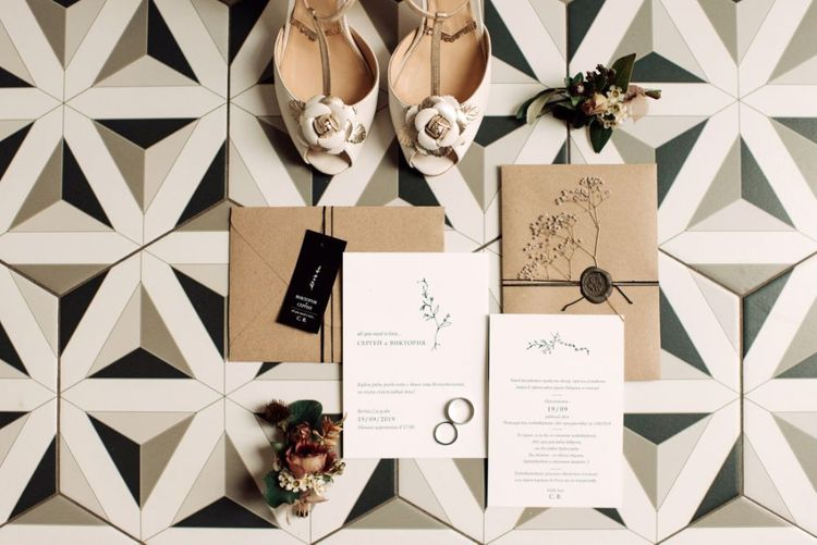 Minimalist Wedding Invitations with Craft Paper Envelopes by Save The Date
