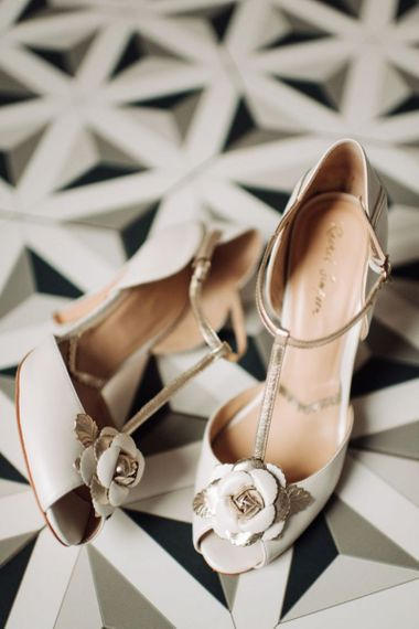 Rachel Simpson Open Toe Gold and Cream Bridal Shoes