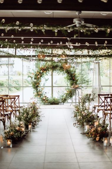 Floral Moon Gate and Aisle Wedding Ceremony Flowers