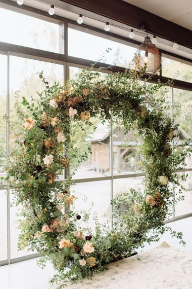 Floral Moon Gate with Foliage and Peach Wedding Flowers