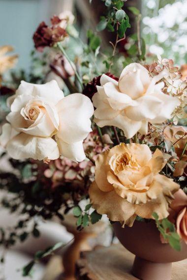 Pale Peach, Orange and Blush Wedding Flower Arrangements