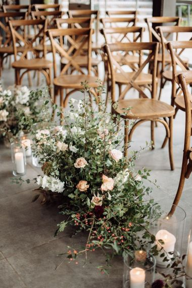 Aisle Wedding Flowers with Foliage and Peach Flowers