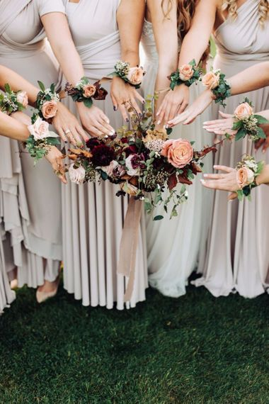 Bridesmaid Corsages and Bridal Bouquet
