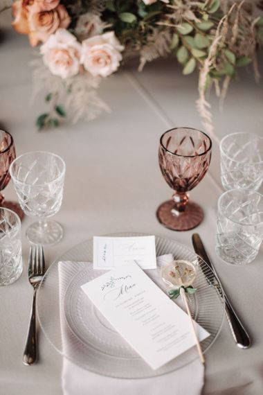 Clear Charger Plate and Coloured Goblet Elegant Place Setting