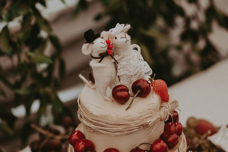 Felt Mice Cheese Tower Wedding Cake Toppers