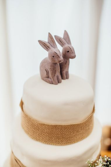 Rustic Wedding Cake with Wooden Rabbit Cake Toppers