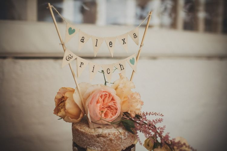 Personalised Mini Bunting Wedding Cake Topper