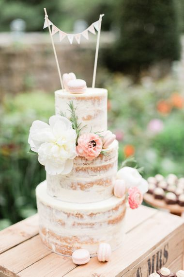 Semi Naked Wedding Cake with Miniature Bunting Wedding Cake Topper