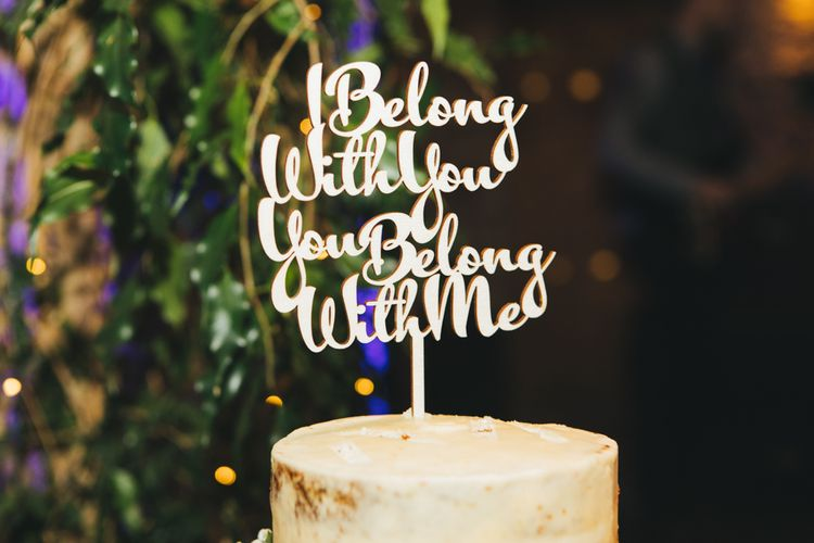 Etched Wooden Personalised Quote Wedding Cake Topper