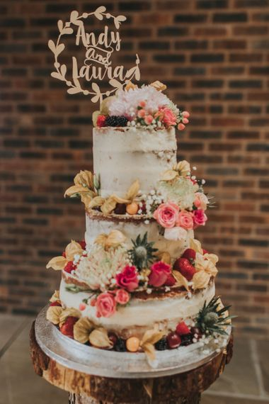 Homemade Semi Naked Wedding Cake with Flowers and Laser Cut Wooden Cake Topper