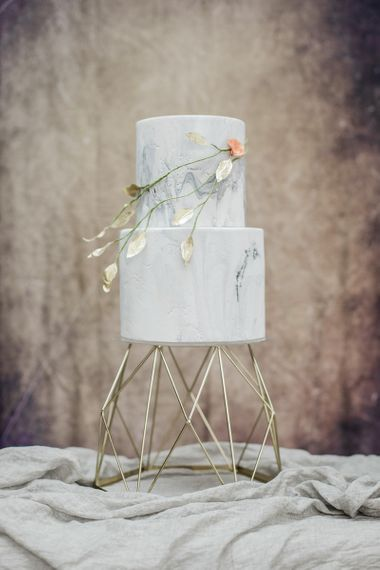 Marble Effect Two Tiered Cake by Cottonwood Bakery