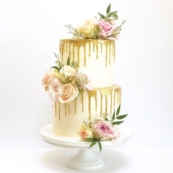Gaya's Cakes & Confections Gold Drip Cake with Flowers