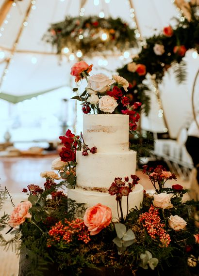 Tiered Semi Naked Cake by Sugar Plum Bakery
