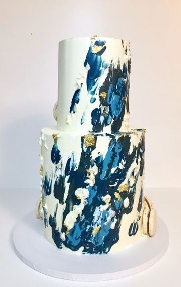 Blue and Gold Abstract Art Cake by Simon's Bakery