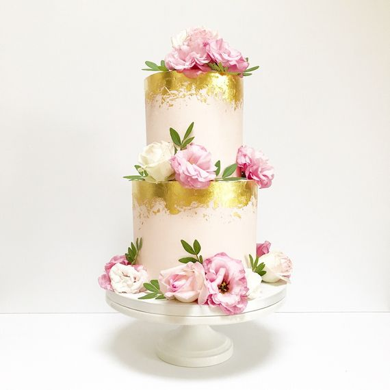 Gold Foil Tiered Cake by Gayas Cakes and Confections